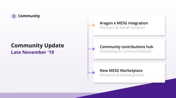 Community Update - Late November '19